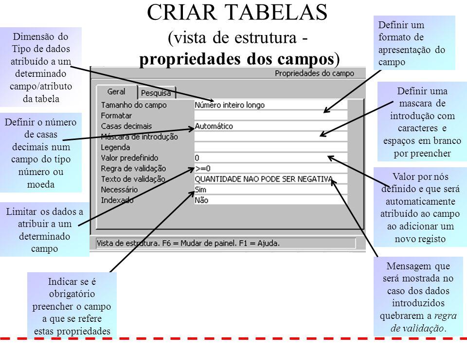 CRIAR TABELAS (vista de estrutura - propriedades dos campos)