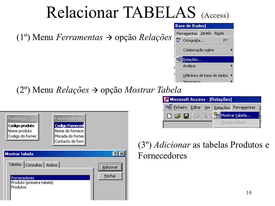 Relacionar TABELAS (Access)