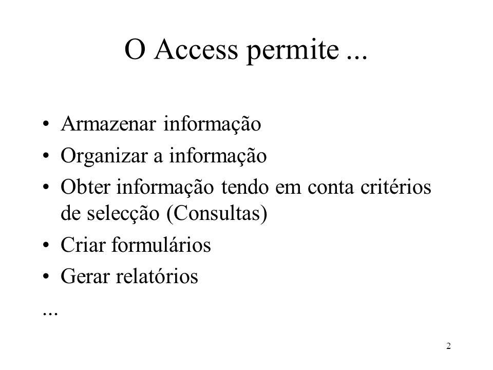 O Access permite ... Armazenar informação Organizar a informação