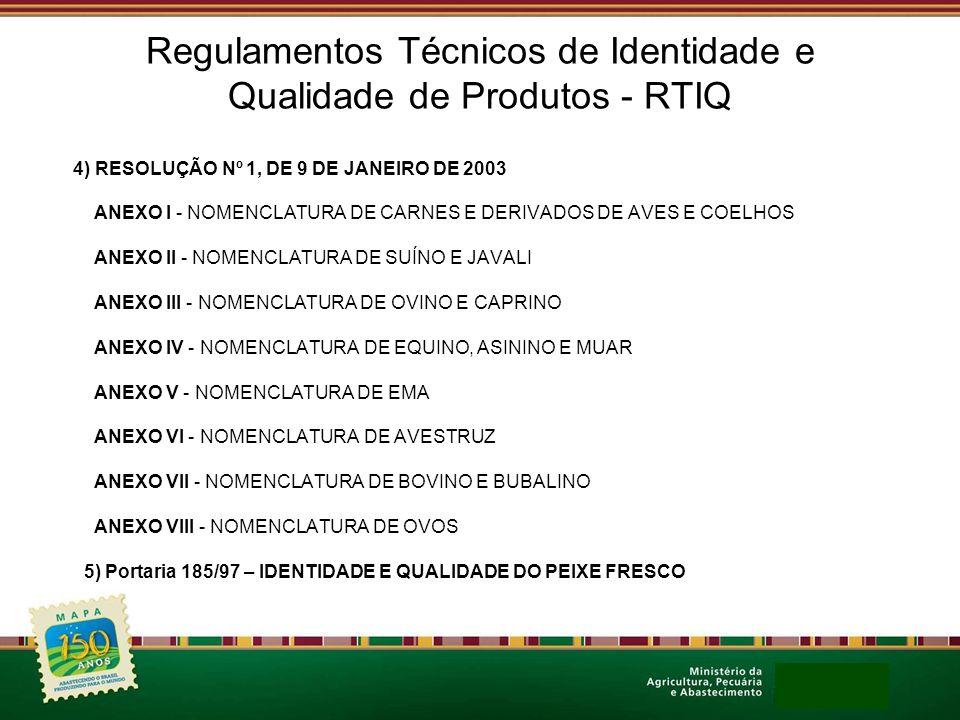 Regulamentos Técnicos de Identidade e Qualidade de Produtos - RTIQ
