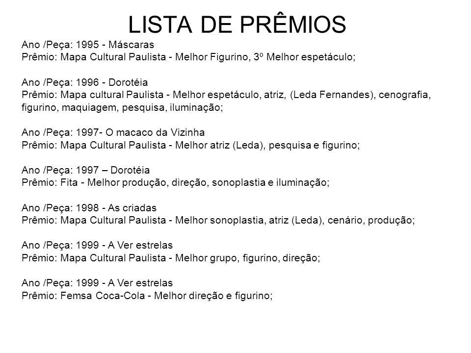 LISTA DE PRÊMIOS Ano /Peça: 1995 - Máscaras