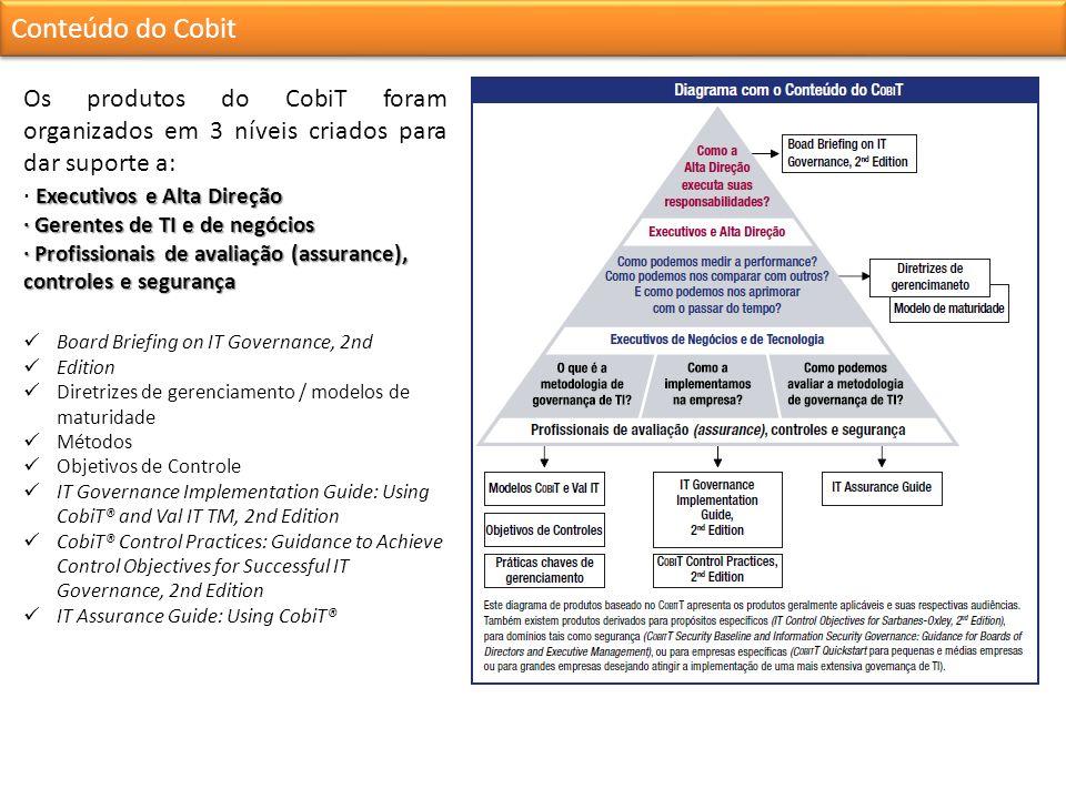 Conteúdo do Cobit Os produtos do CobiT foram organizados em 3 níveis criados para dar suporte a: · Executivos e Alta Direção.
