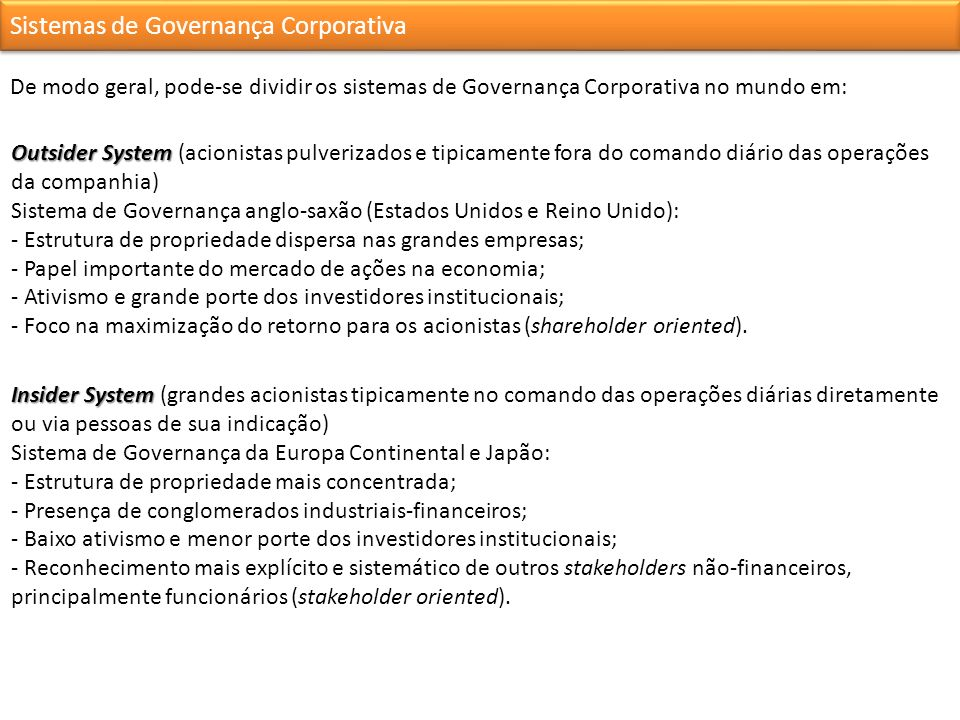 Sistemas de Governança Corporativa