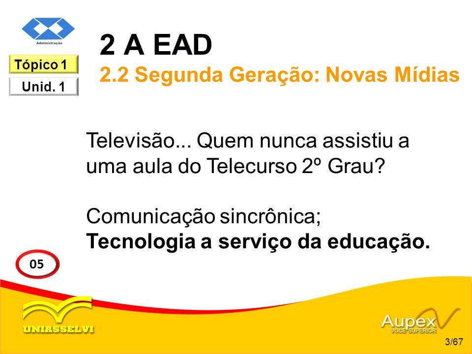 2 A EAD 2.2 Segunda Geração: Novas Mídias