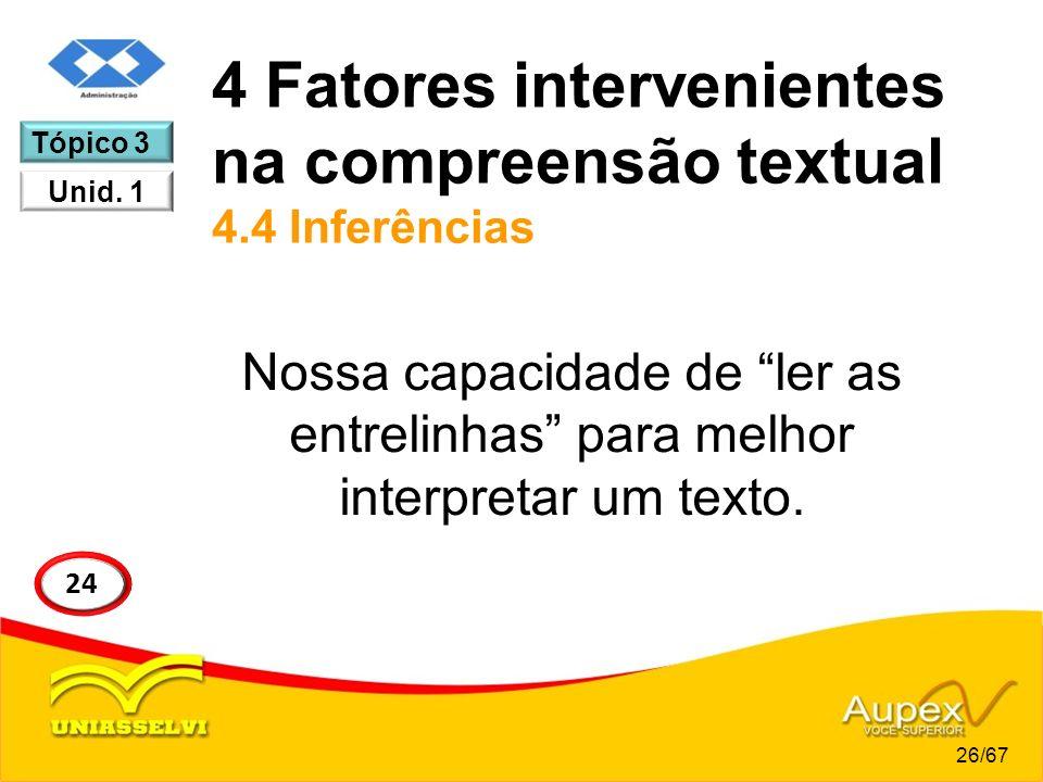 4 Fatores intervenientes na compreensão textual 4.4 Inferências