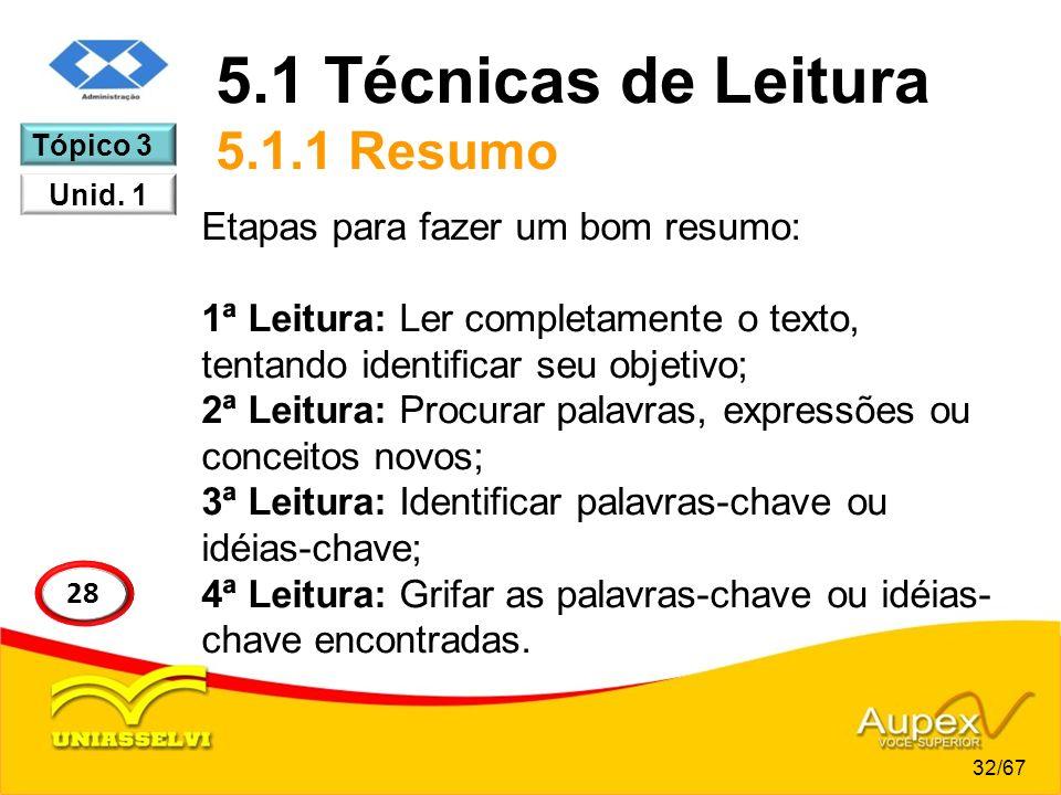 5.1 Técnicas de Leitura 5.1.1 Resumo