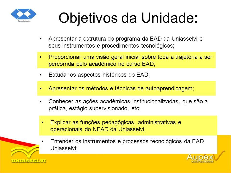 Objetivos da Unidade: Apresentar a estrutura do programa da EAD da Uniasselvi e seus instrumentos e procedimentos tecnológicos;