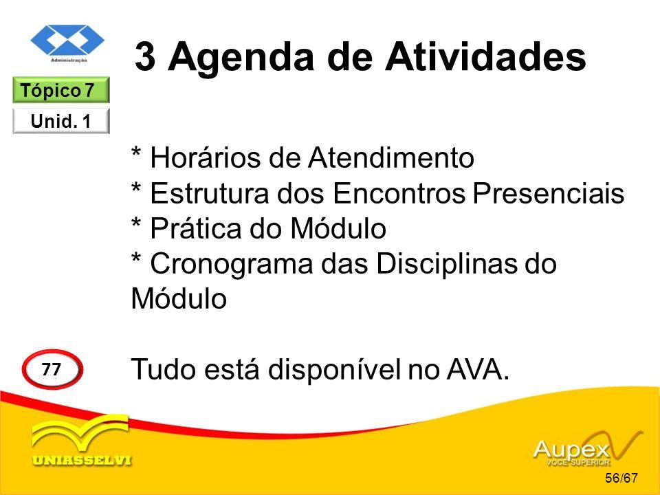 3 Agenda de Atividades Tópico 7. Unid. 1.