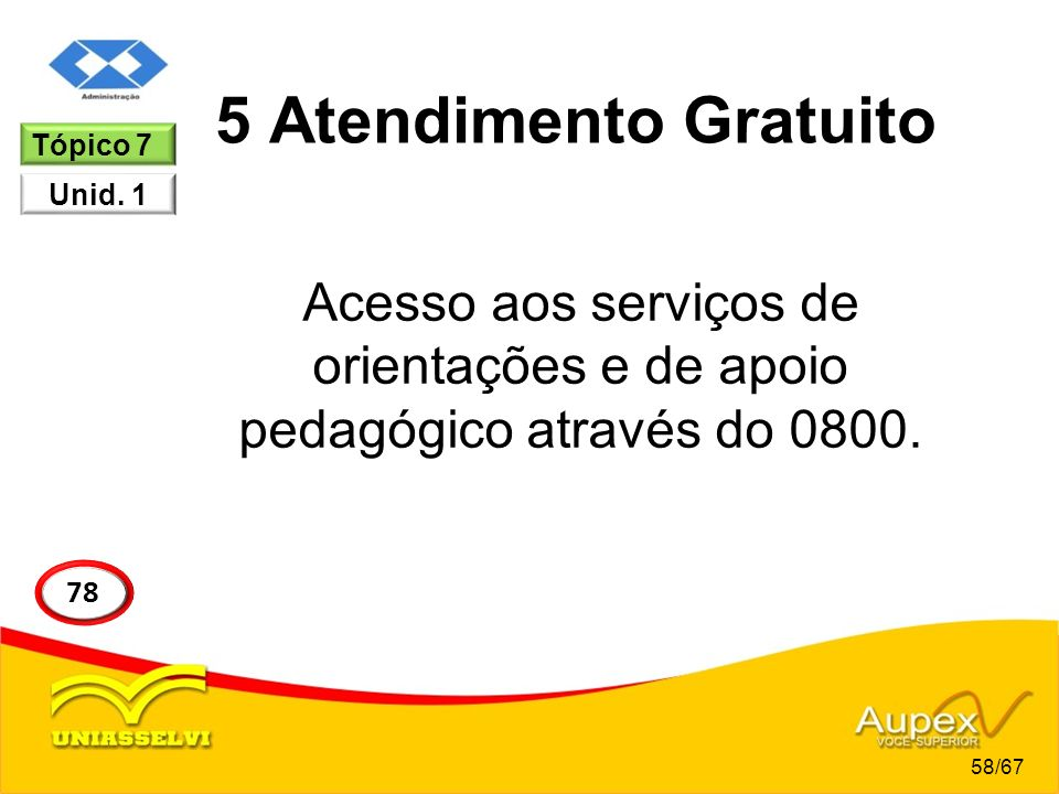 5 Atendimento Gratuito Tópico 7. Unid. 1. Acesso aos serviços de orientações e de apoio pedagógico através do 0800.