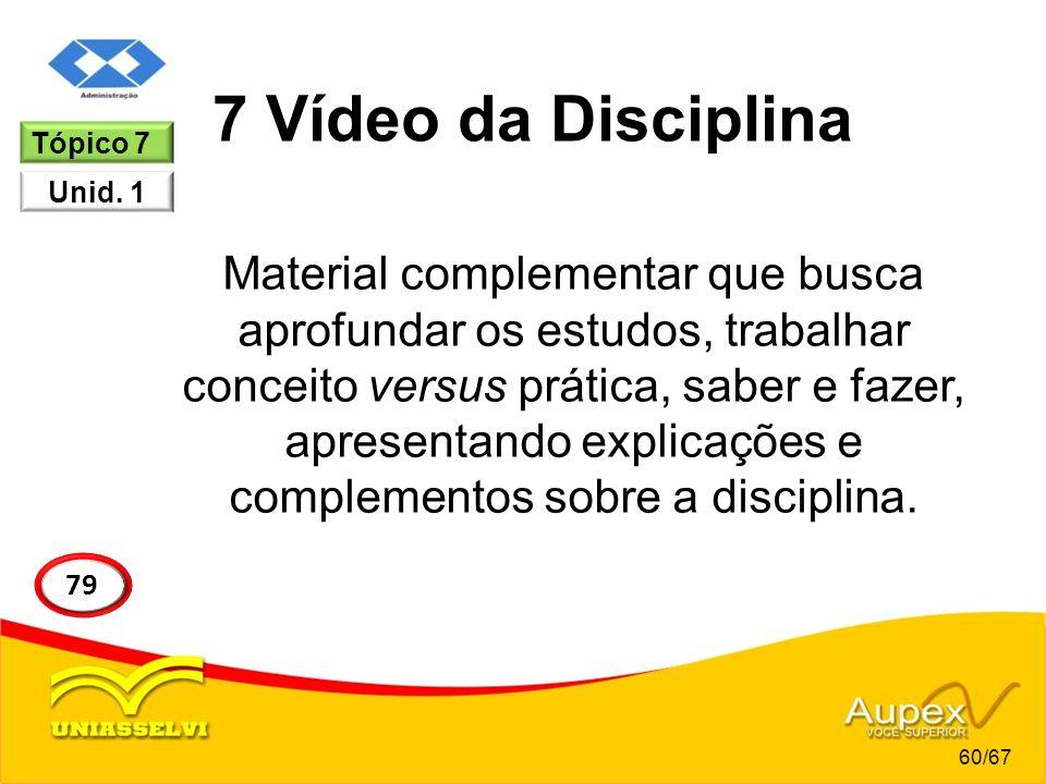 7 Vídeo da Disciplina Tópico 7. Unid. 1.