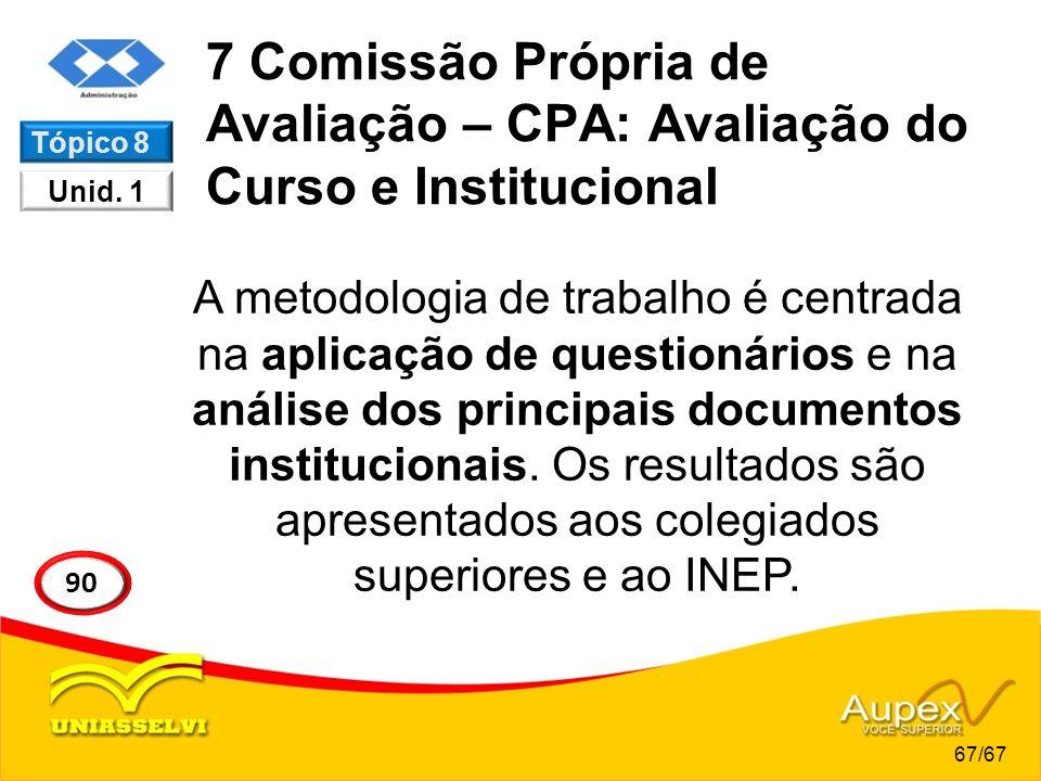 7 Comissão Própria de Avaliação – CPA: Avaliação do Curso e Institucional