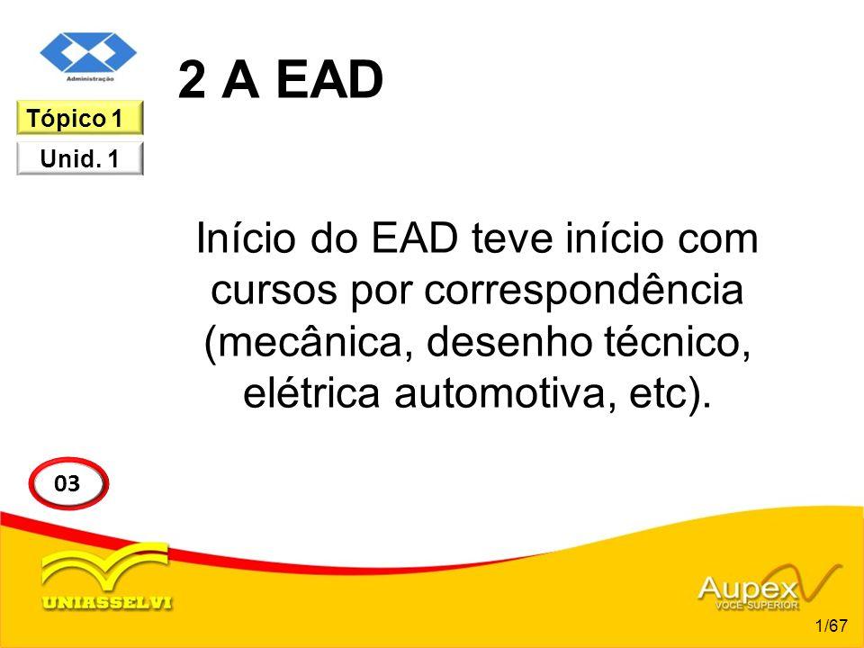 2 A EAD Tópico 1. Início do EAD teve início com cursos por correspondência (mecânica, desenho técnico, elétrica automotiva, etc).