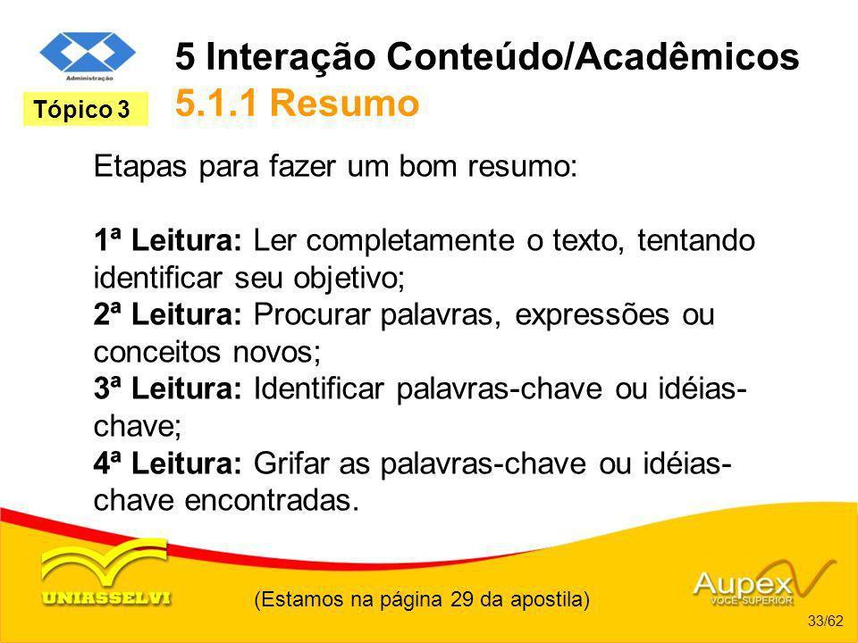 5 Interação Conteúdo/Acadêmicos 5.1.1 Resumo