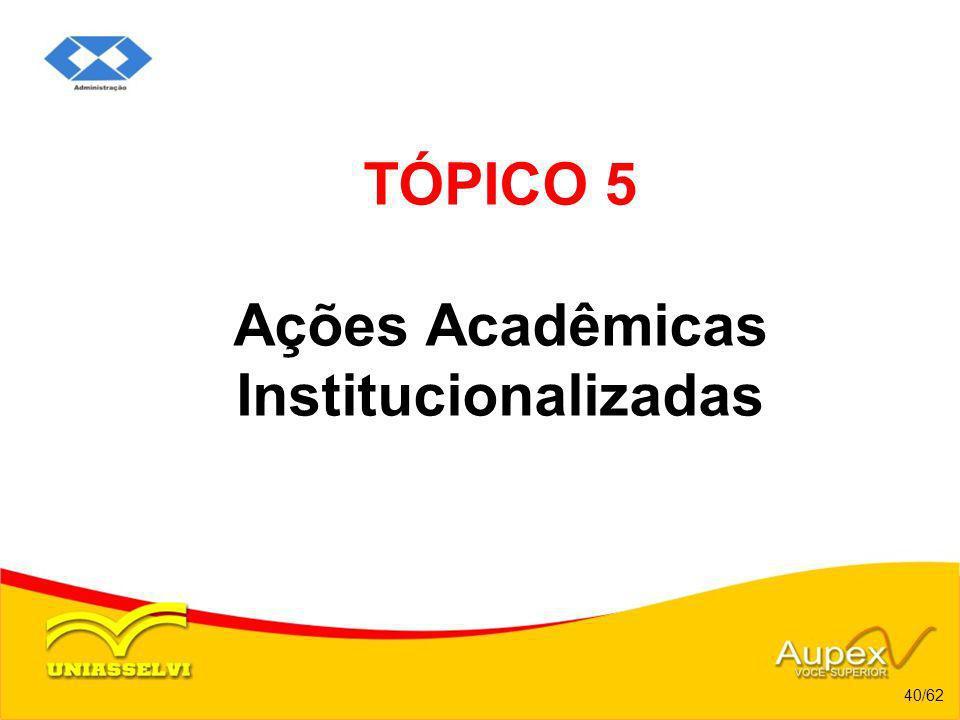 TÓPICO 5 Ações Acadêmicas Institucionalizadas