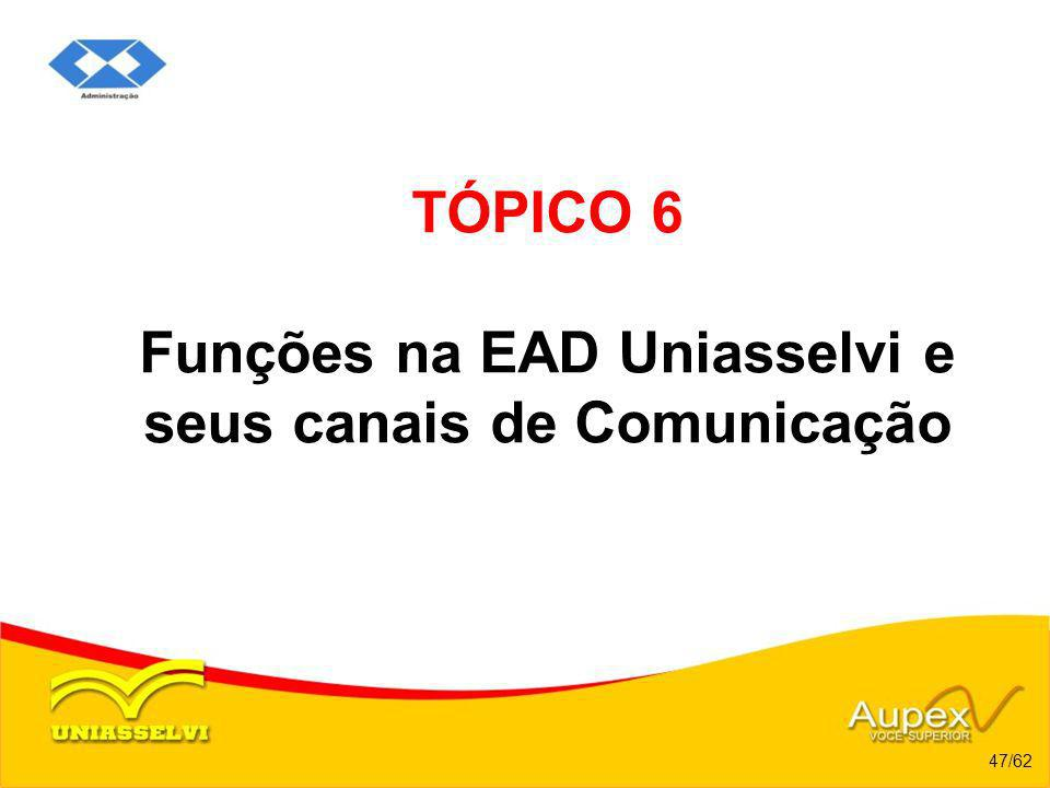 TÓPICO 6 Funções na EAD Uniasselvi e seus canais de Comunicação