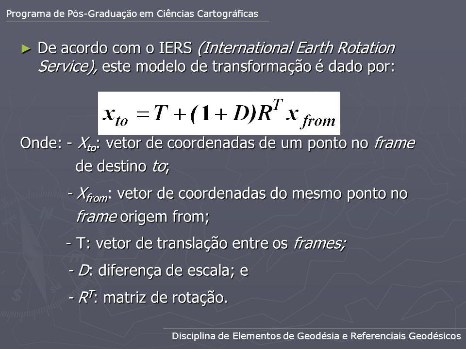 Onde: - Xto: vetor de coordenadas de um ponto no frame de destino to;