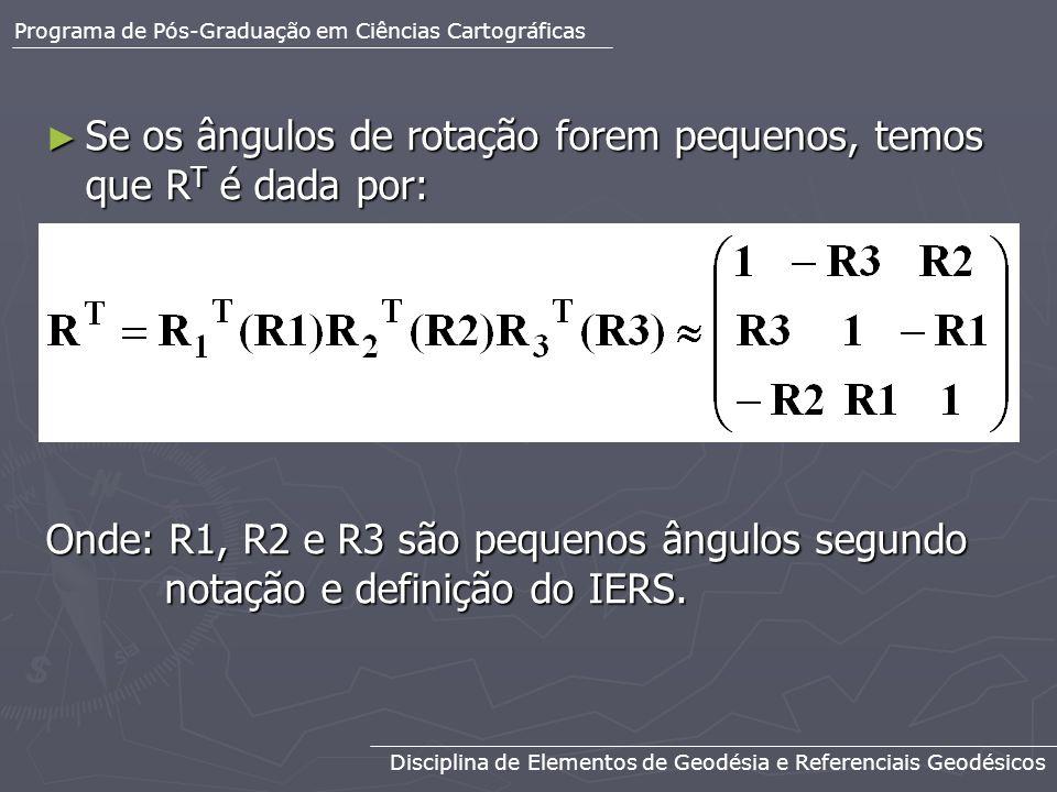 Se os ângulos de rotação forem pequenos, temos que RT é dada por: