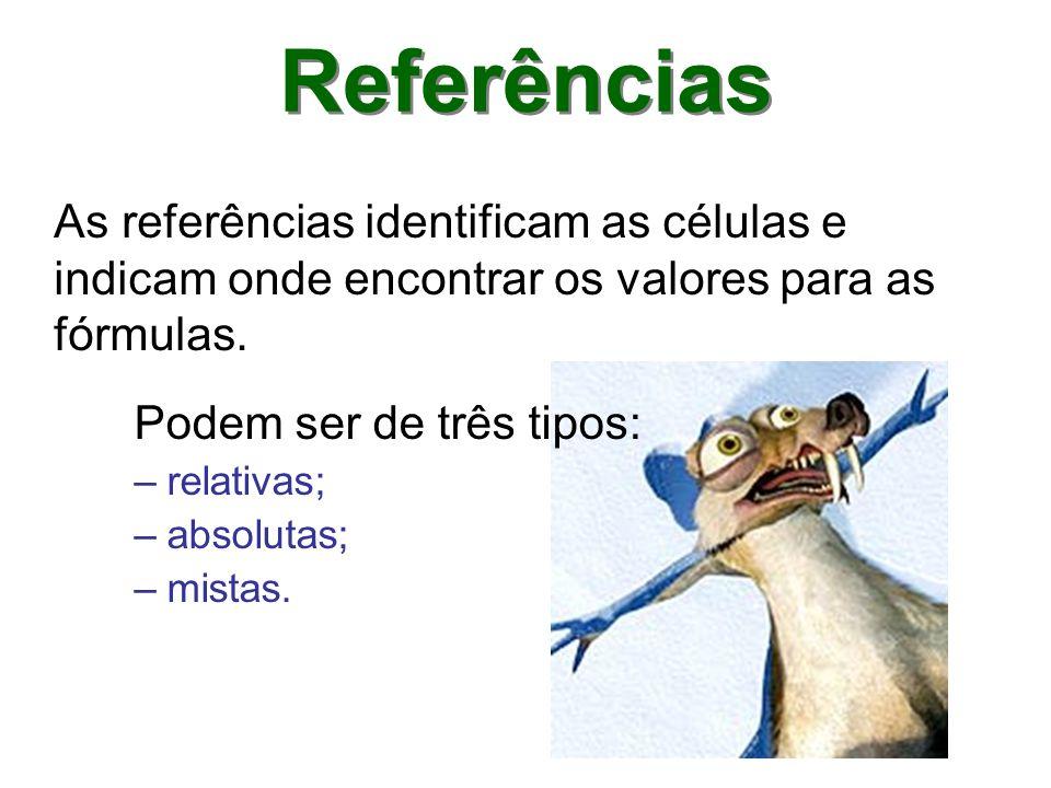 Referências As referências identificam as células e indicam onde encontrar os valores para as fórmulas.