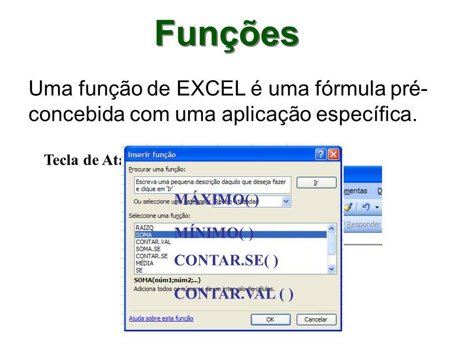 Funções Uma função de EXCEL é uma fórmula pré-concebida com uma aplicação específica. Tecla de Atalho: