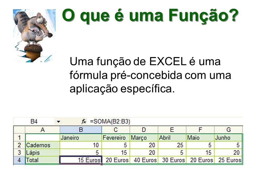 O que é uma Função Uma função de EXCEL é uma fórmula pré-concebida com uma aplicação específica.