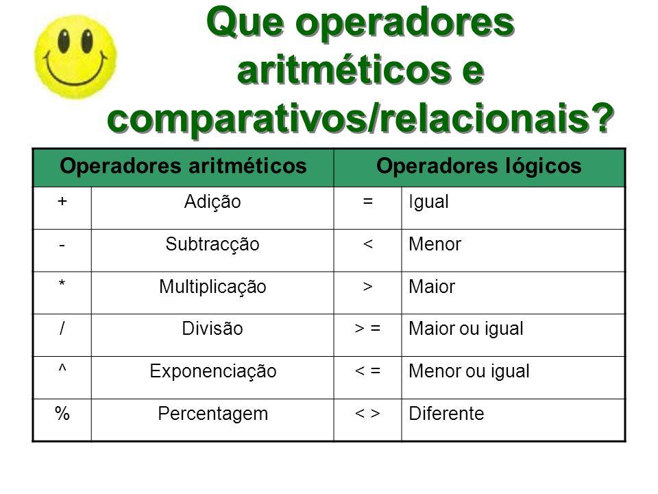 Que operadores aritméticos e comparativos/relacionais