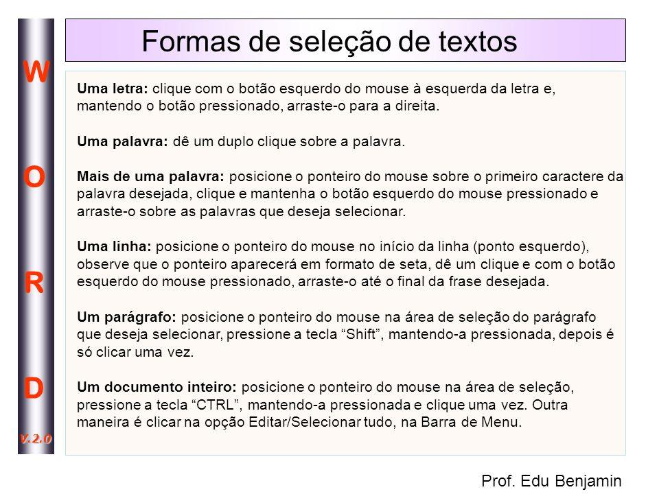 Formas de seleção de textos