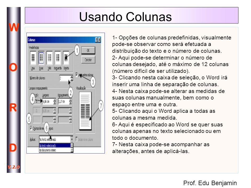 Usando Colunas 1- Opções de colunas predefinidas, visualmente pode-se observar como será efetuada a distribuição do texto e o número de colunas.