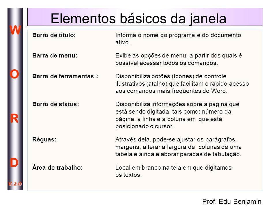 Elementos básicos da janela