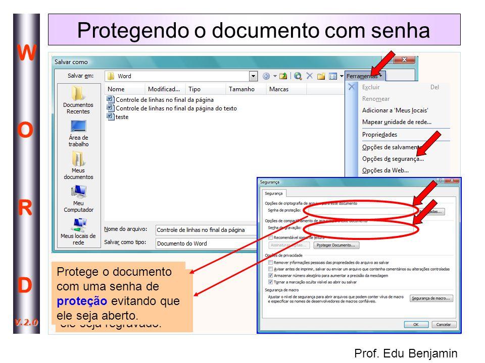 Protegendo o documento com senha
