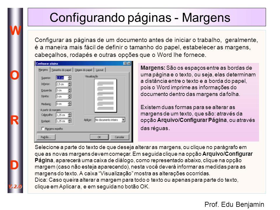 Configurando páginas - Margens