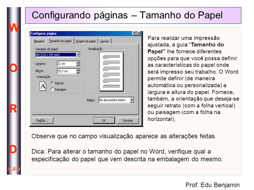 Configurando páginas – Tamanho do Papel