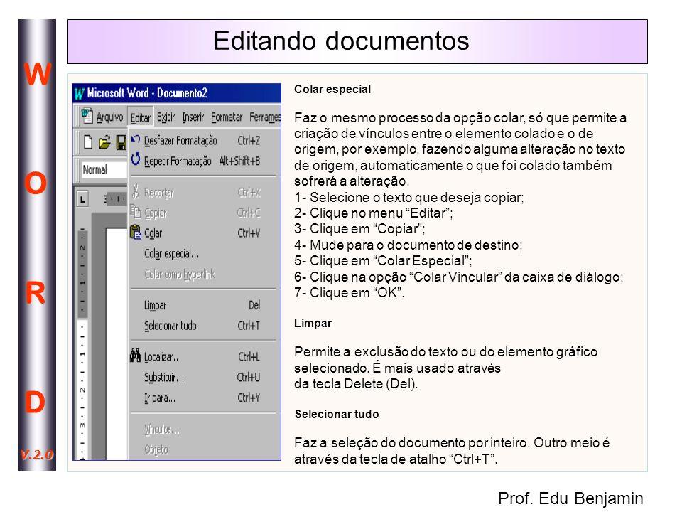 Editando documentos Colar especial.