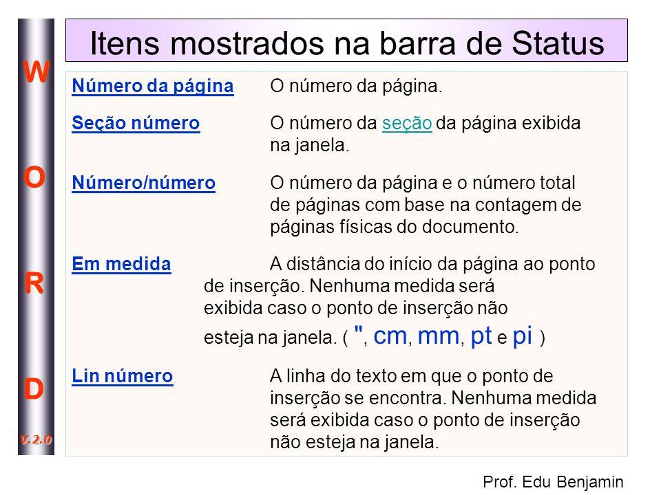 Itens mostrados na barra de Status
