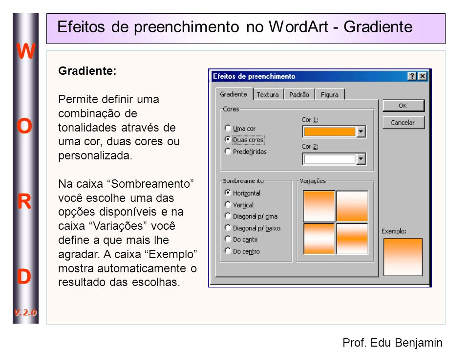 Efeitos de preenchimento no WordArt - Gradiente