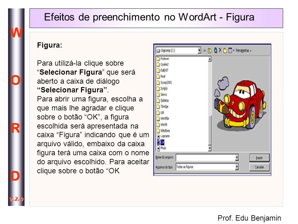 Efeitos de preenchimento no WordArt - Figura