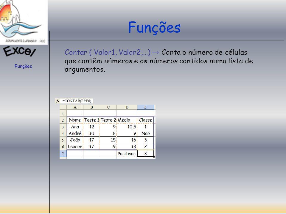 Funções Contar ( Valor1, Valor2,…) → Conta o número de células que contêm números e os números contidos numa lista de argumentos.