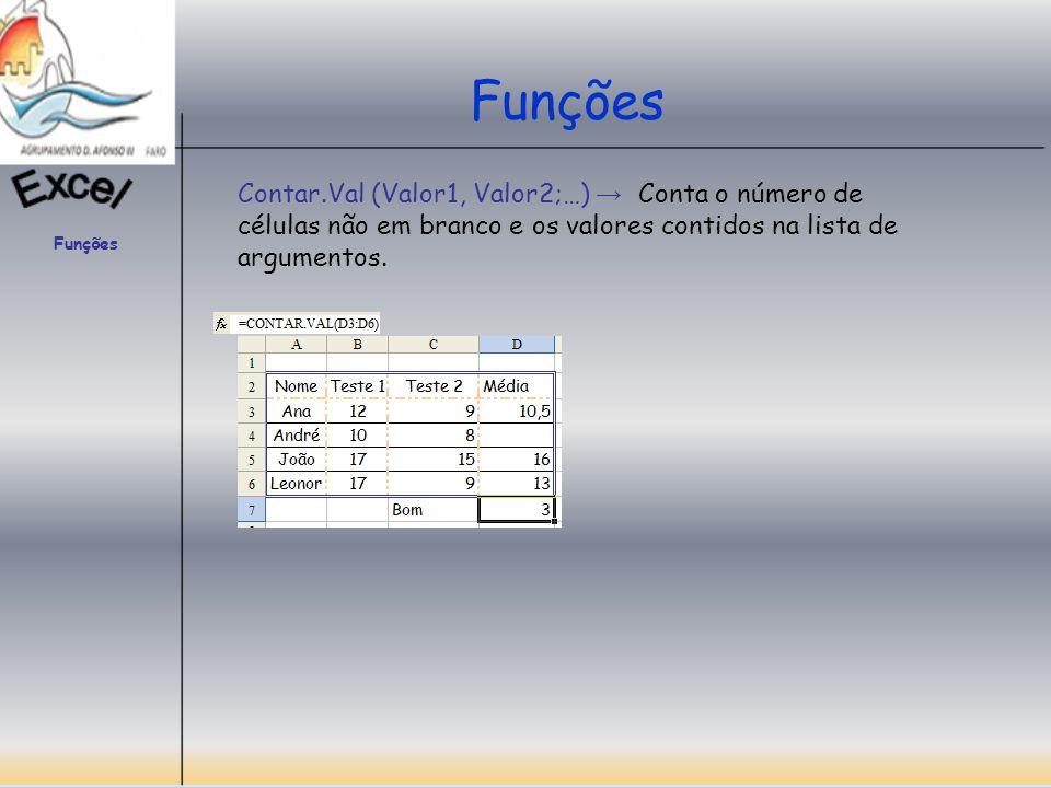 Funções Contar.Val (Valor1, Valor2;…) → Conta o número de células não em branco e os valores contidos na lista de argumentos.