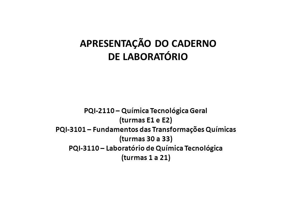 APRESENTAÇÃO DO CADERNO DE LABORATÓRIO