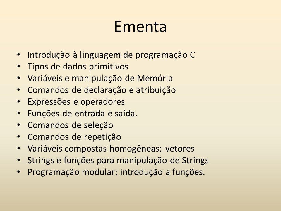 Ementa Introdução à linguagem de programação C