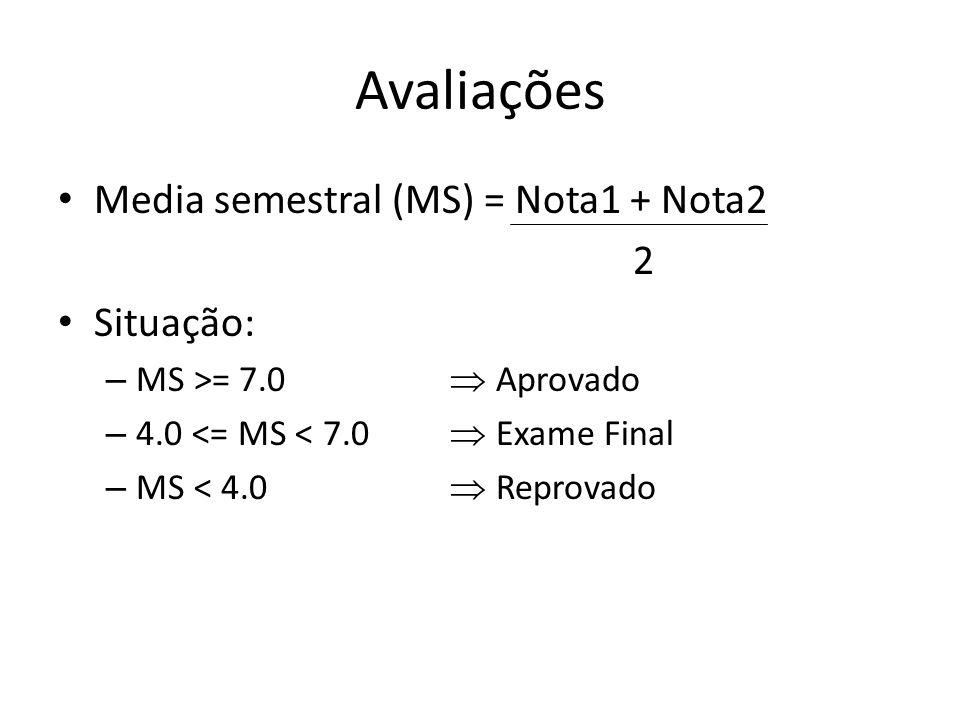 Avaliações Media semestral (MS) = Nota1 + Nota2 2 Situação: