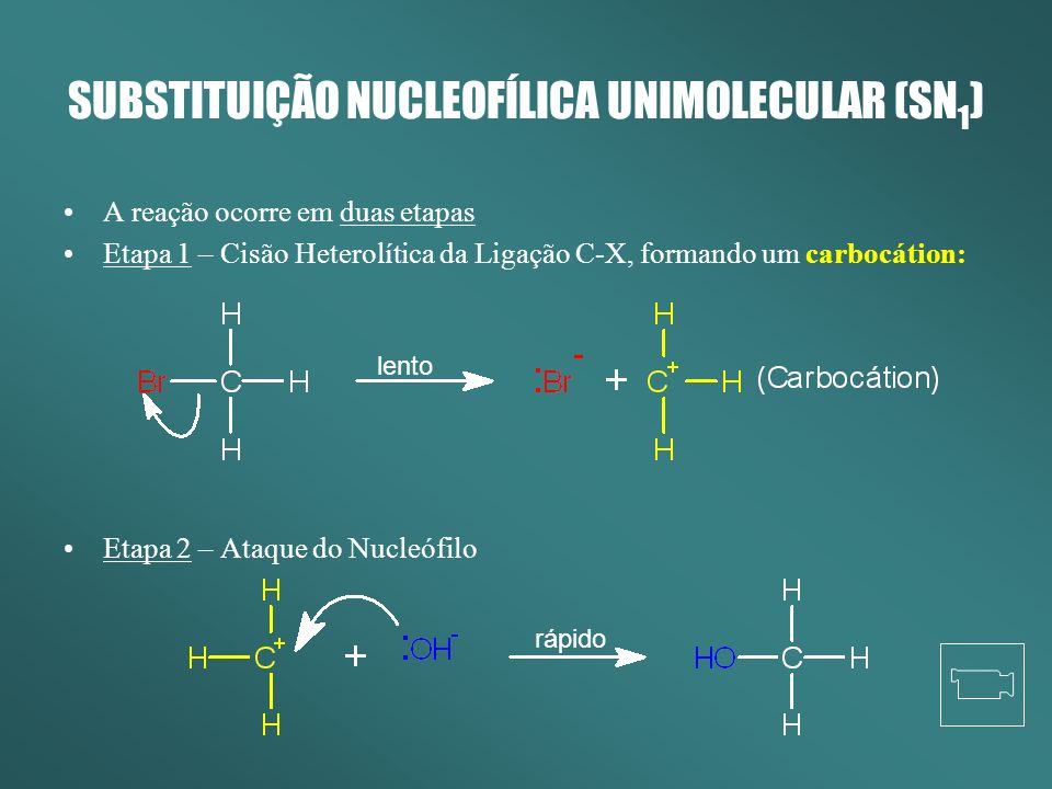 SUBSTITUIÇÃO NUCLEOFÍLICA UNIMOLECULAR (SN1)
