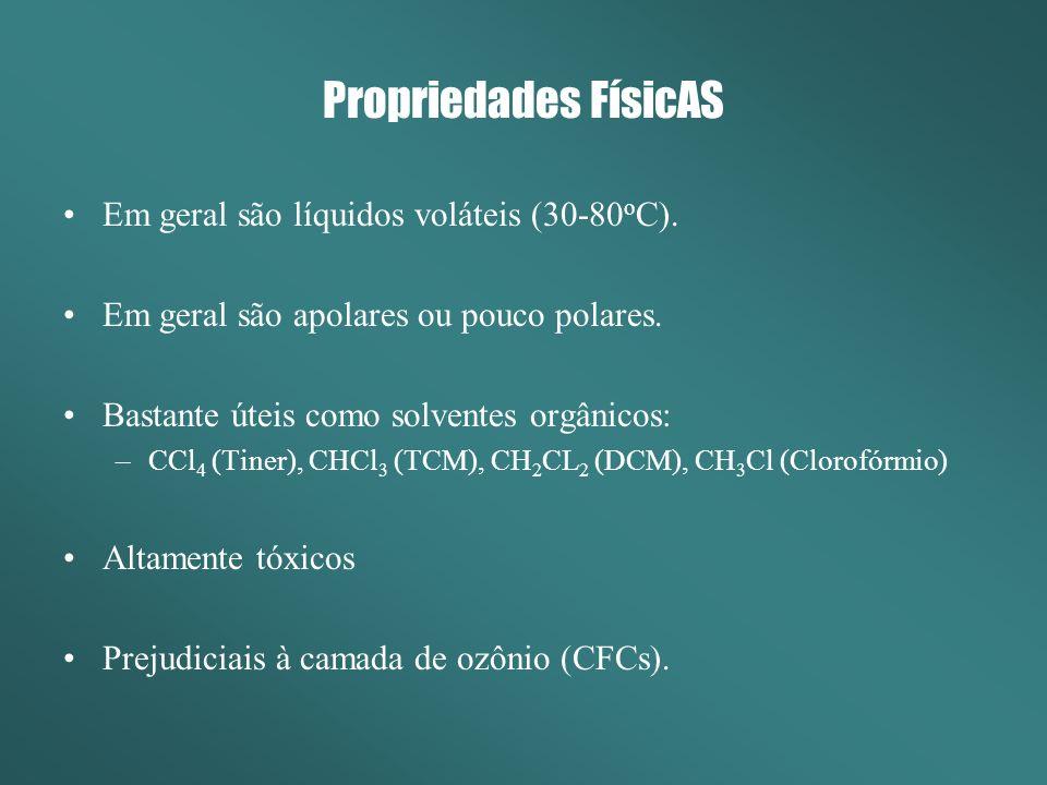 Propriedades FísicAS Em geral são líquidos voláteis (30-80oC).