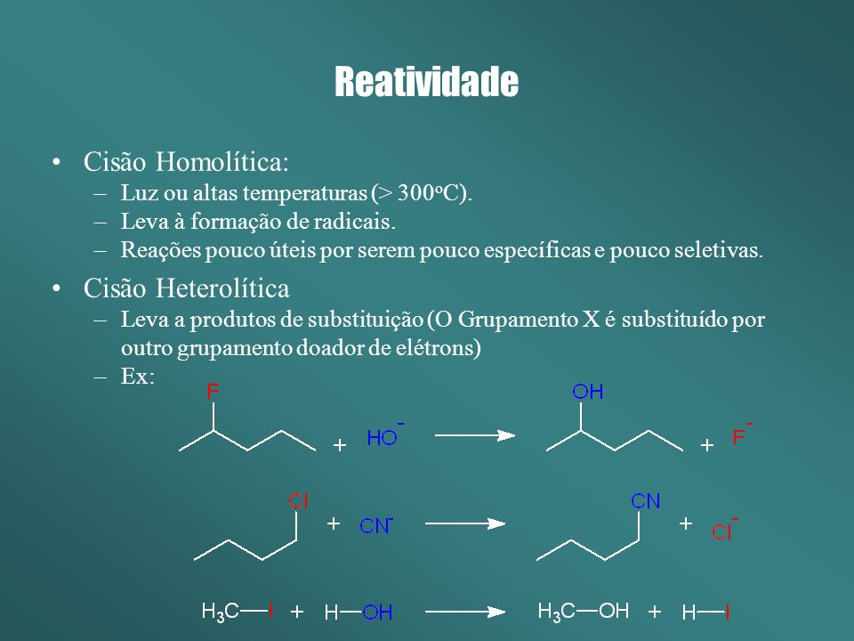 Reatividade Cisão Homolítica: Cisão Heterolítica