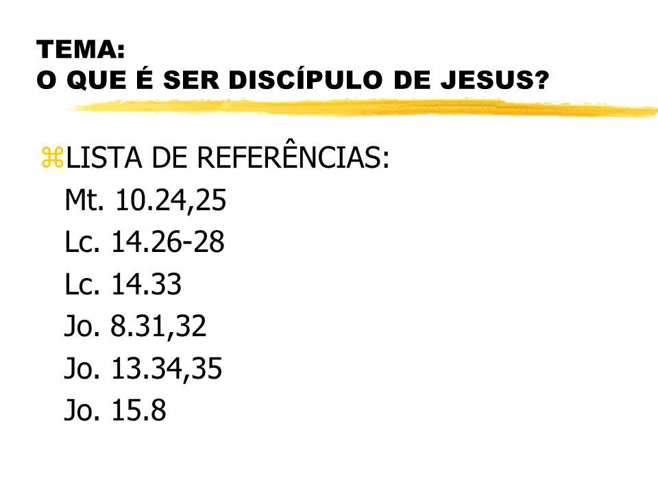 TEMA: O QUE É SER DISCÍPULO DE JESUS