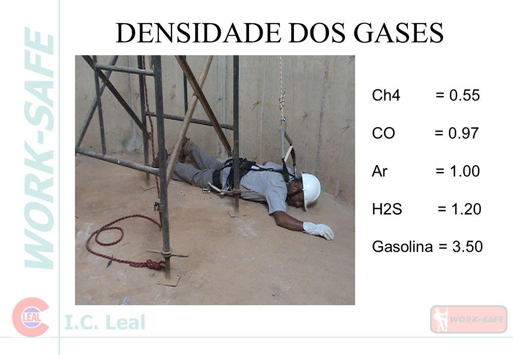 DENSIDADE DOS GASES Ch4 = 0.55 CO = 0.97 Ar = 1.00 H2S = 1.20