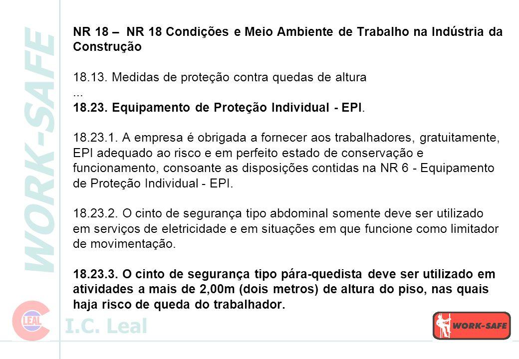 NR 18 – NR 18 Condições e Meio Ambiente de Trabalho na Indústria da Construção 18.13.