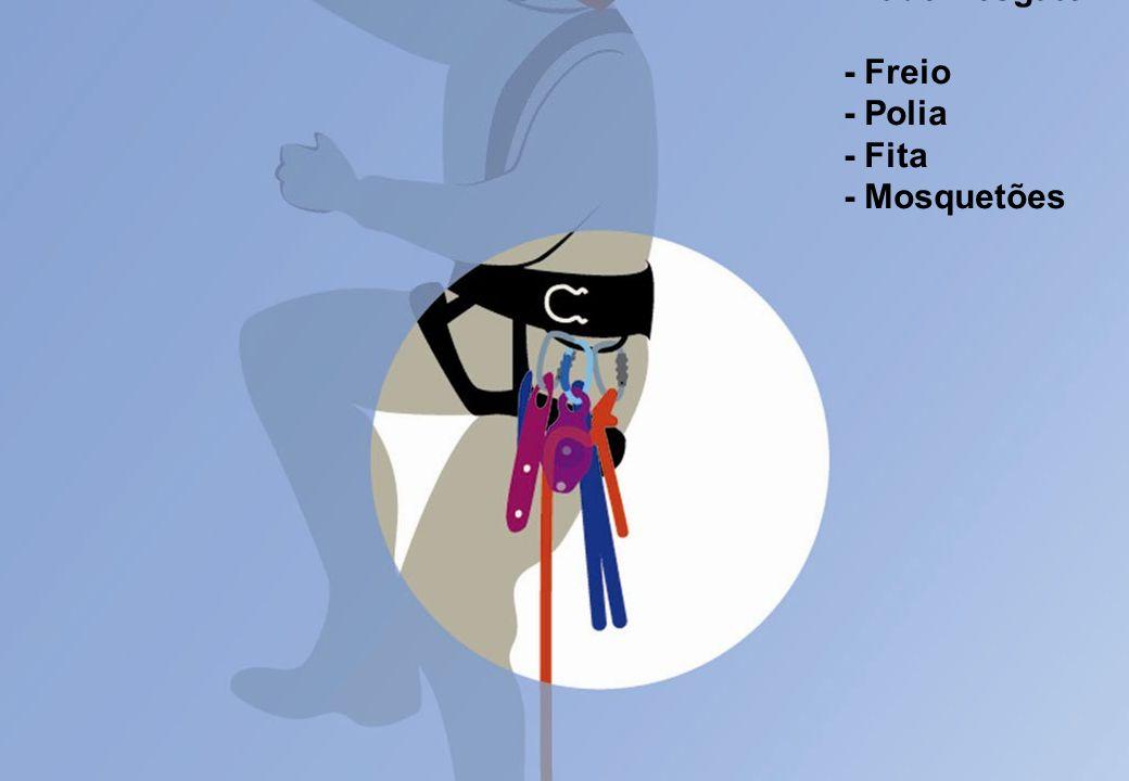 Kit de Resgate: - Freio - Polia - Fita - Mosquetões