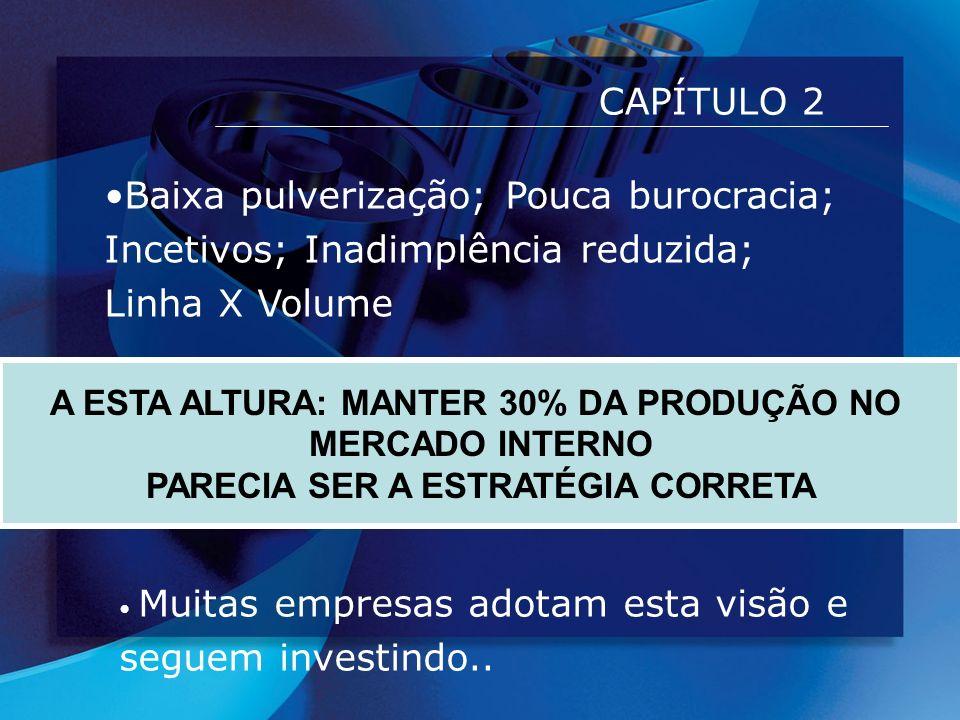 CAPÍTULO 2 Baixa pulverização; Pouca burocracia; Incetivos; Inadimplência reduzida; Linha X Volume.