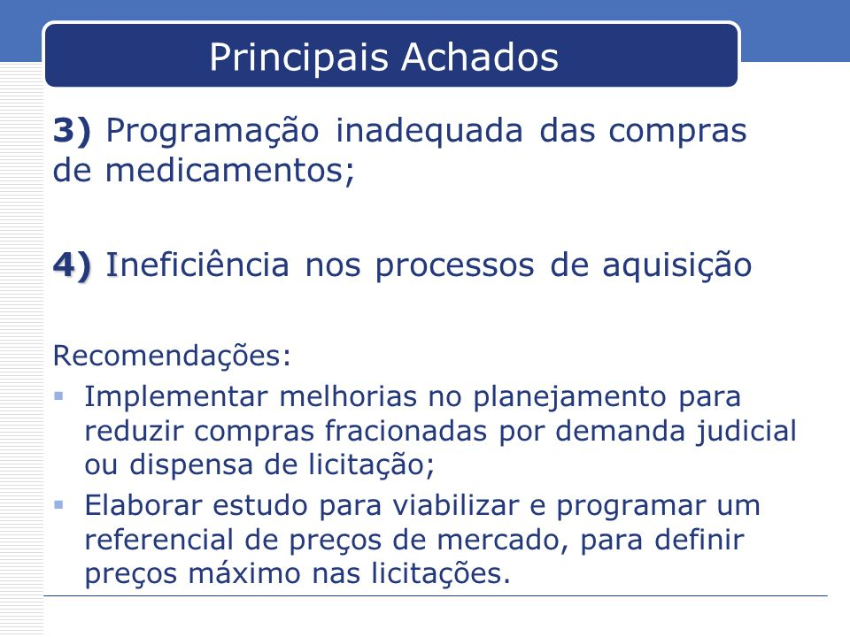 Principais Achados 3) Programação inadequada das compras de medicamentos; 4) Ineficiência nos processos de aquisição.
