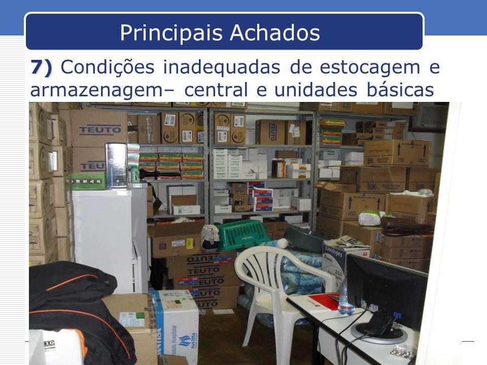 Principais Achados 7) Condições inadequadas de estocagem e armazenagem– central e unidades básicas